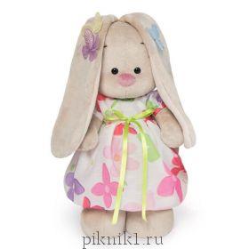 Зайка Ми в летнем платье с бабочками на ушках 25 см