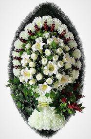 Ритуальный венок из искусственных цветов - Элит #18 из белых роз, хризантем и зелени
