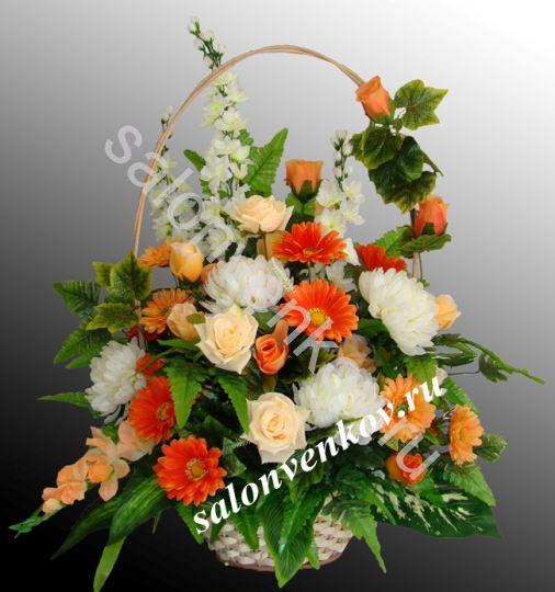 Ритуальная корзина из искусственных цветов N5, РАЗМЕР 60см,80см,90см