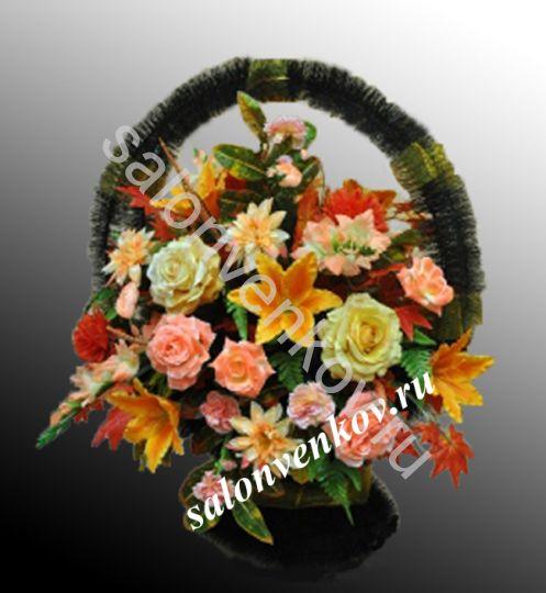 Ритуальная корзина из искусственных цветов N6, РАЗМЕР 60см,80см,90см