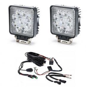 Комплект квадратных светодиодных фар 54 Ватт с проводкой