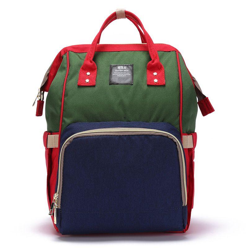 Сумка-Рюкзак Для Мамы Baby Mo (Mummy Bag), Цвет Красный-Зелёный-Синий