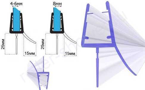 C071-25Уплотнители для душевых кабин, толщина стекла (4,5,6,8мм) длина 2 метра
