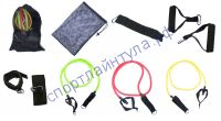 Эспандер многофункц  Resistance band kit 3 жгута, 2 манж., 2 рукоят., двер. крюк, сумка для хр