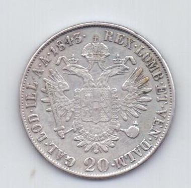 20 крейцеров 1843 года АUNC Милан Италия Австрия