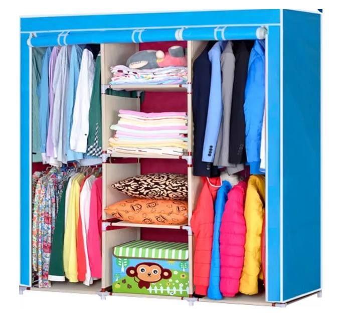Складной каркасный тканевый шкаф STORAGE WARDROBE, цвет голубой