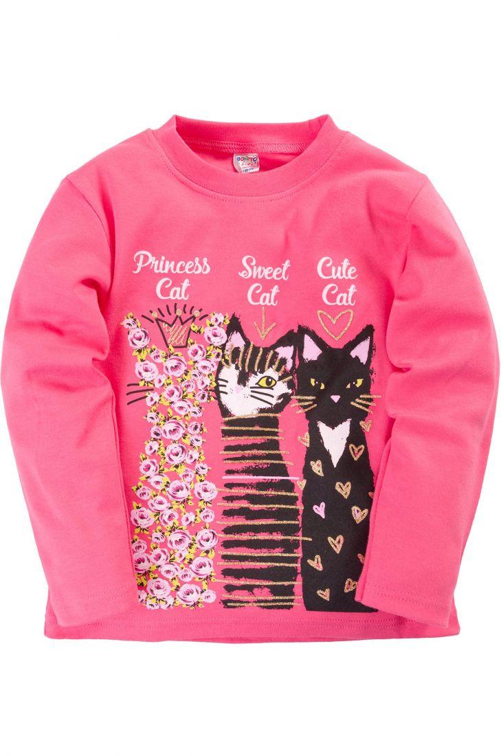 Кофта для девочки розового цвета Кошки