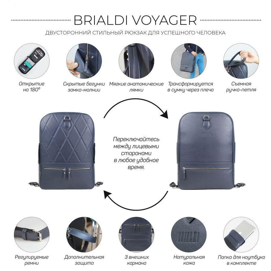 Стильный кожаный рюкзак BRIALDI Voyager (Вояджер) relief navy