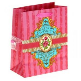 Пакет ламинированный с тиснением Best wishes, MS 18 × 23 × 8 см