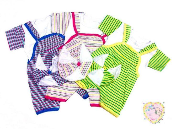 Костюм: песочник, футболка, берет (супрем в полоску)