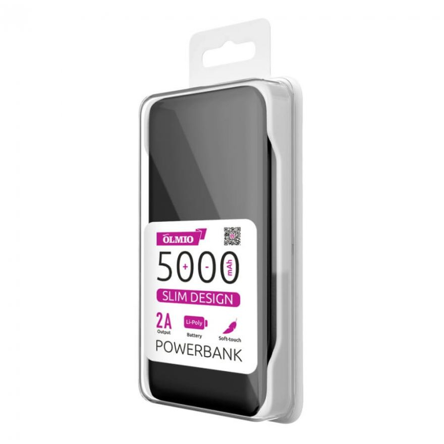 Внешний аккумулятор (power bank) Slim,  5000 mAh, OLMIO