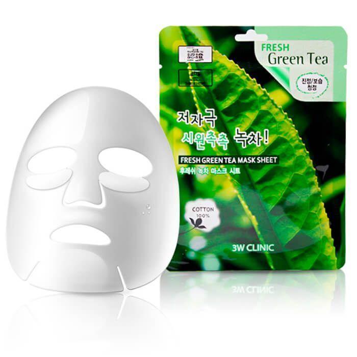 "[3W CLINIC] Тканевая маска для лица ЗЕЛЕНЫЙ ЧАЙ ""Fresh Green tea Mask Sheet"""