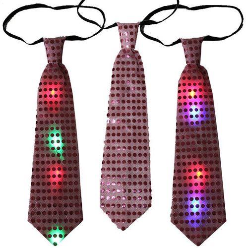 Светящийся карнавальный галстук, розовый