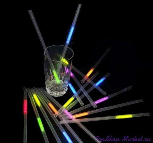 Неоновые трубочки для коктейлей Glow Straws, 6шт