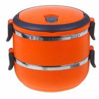 Термо ланч-бокс из нержавеющей стали, 1,4 л, Цвет: Оранжевый
