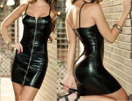 Платье под латекс  на молнии размер S M L XL, модель 443
