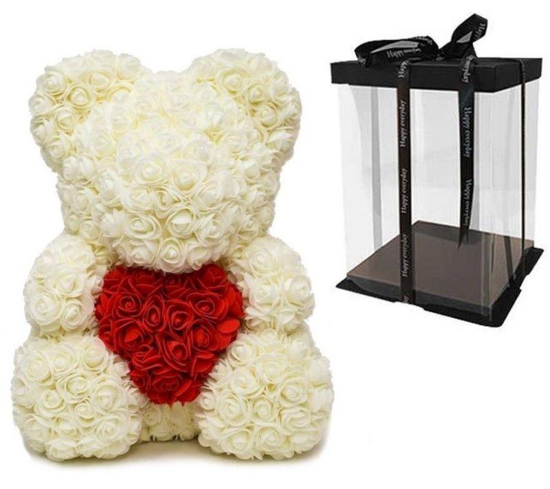 Мишка из роз с сердцем в подарочной коробке, 40 см, кремовый