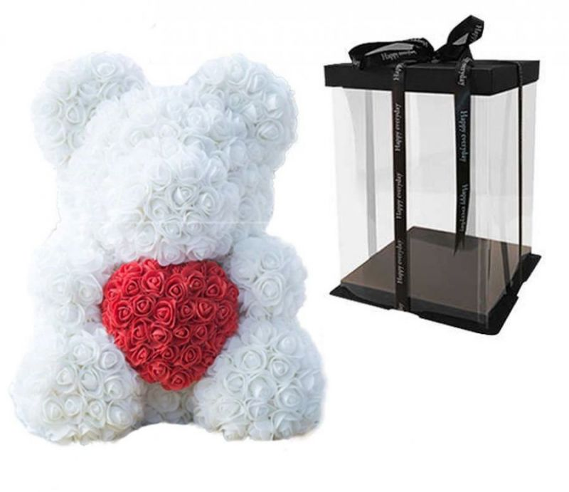 Мишка из роз с сердцем в подарочной коробке, 40 см, белый