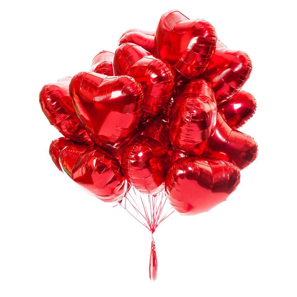 """Красные сердца 18""""(45см)"""