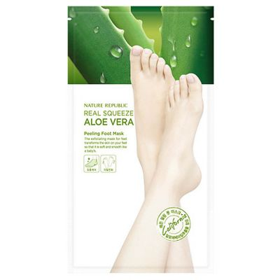 Пилинг-маска для ног с экстрактом алоэ REAL SQUEEZE ALOE VERA PEELING FOOT MASK 25 гр*2 шт
