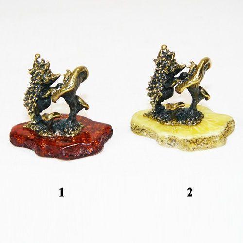 Ежик с грибом - фигурка из бронзы с камнем янтарь