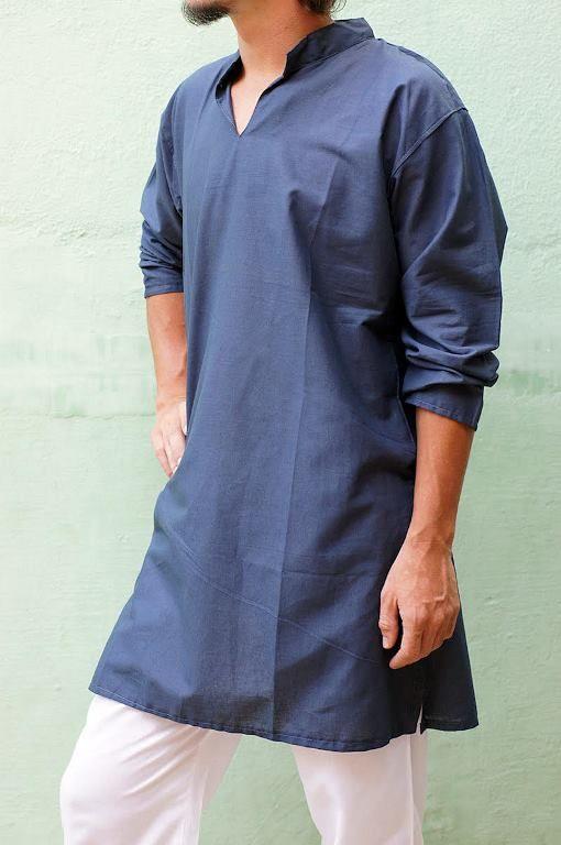 КОРИЧНЕВАЯ Индийская мужская рубашка - курта (СПб)