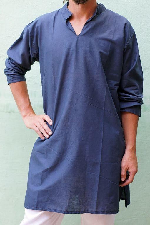 КОРИЧНЕВЫЕ длинные индийские рубашки - курты без пуговиц, унисекс (Москва)