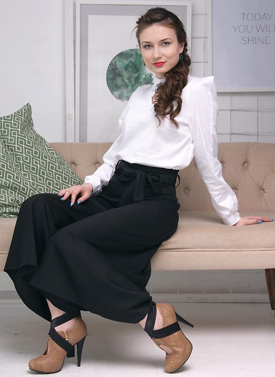 Черная юбка-брюки