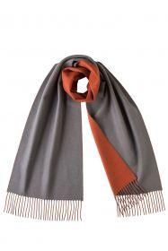 Роскошный двусторонний кашемировый шарф Гамильтон Контраст Серый и Оранжевый  Hamilton Contrast Grey & Orange   (100% драгоценный кашемир),   высокая плотность 7