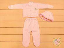 """Костюм для новорожденных: чепчик, кофта с варежками, ползунки dP-KS111-KHt (кашкорсе) """"Мамин Малыш"""" код 01544 розовый цвет"""