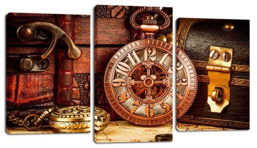 Модульная картина Часы и сундуки