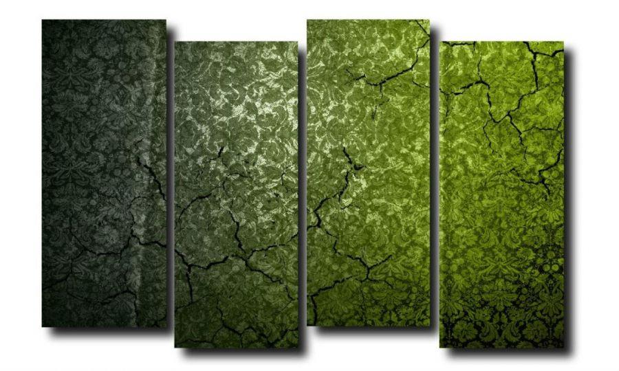 Модульная картина Обои. Зеленый винтаж