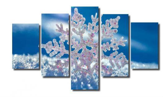 Модульная картина Макро снежинка