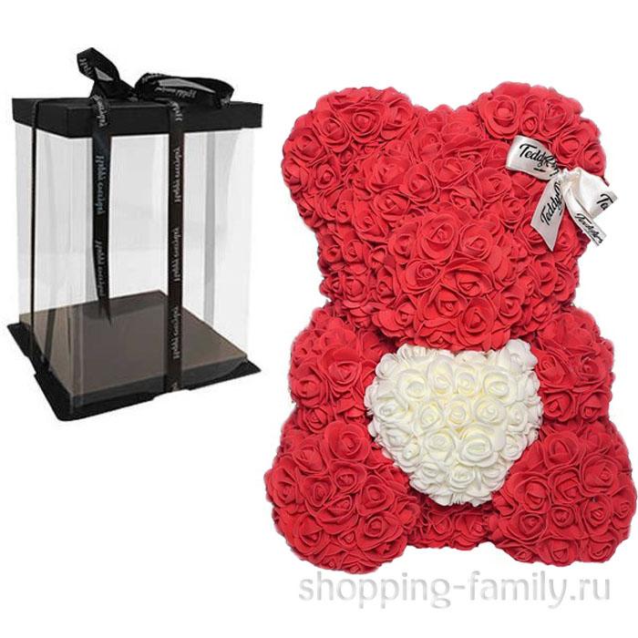 Красный Мишка из роз с сердцем в подарочной коробке, 40 см