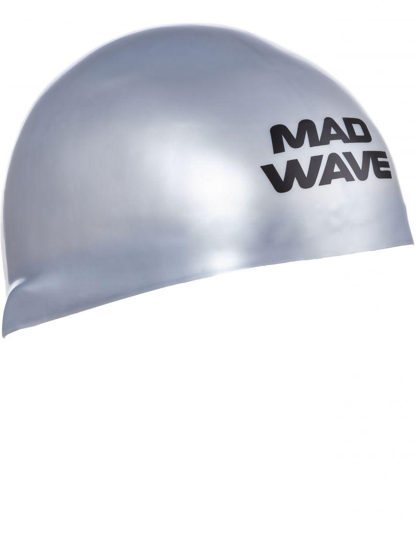 Шапочка для плавания силиконовая Mad Wave D-CAP (серебро)