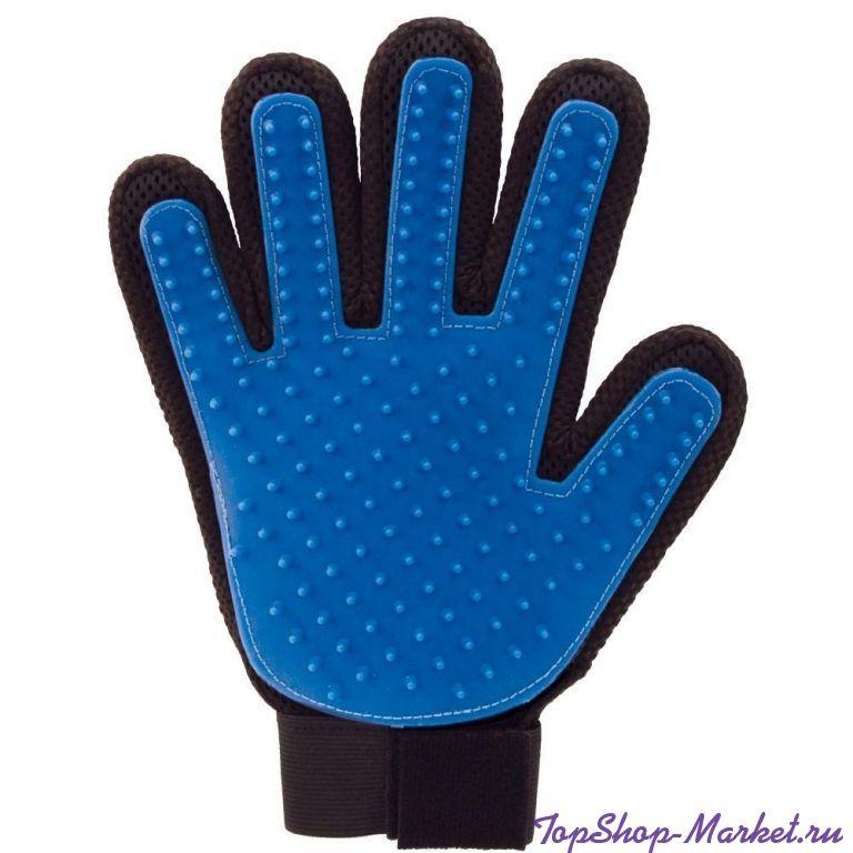 Перчатка для вычёсывания  шерсти True Touch, Цвет: Синий