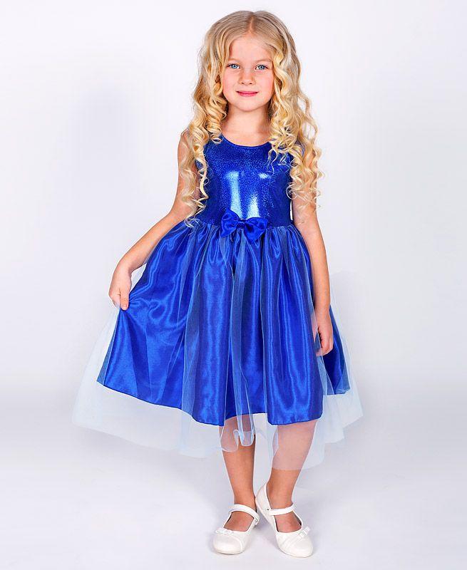 Нарядное синее платье для девочки