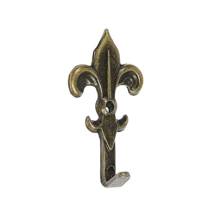 Крючок для ключницы одинарный Лилия, бронза, 3,2 см