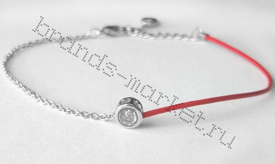 Браслет оберег Cartier, красная нить с цирконом