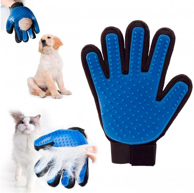 Перчатка для вычёсывания шерсти животных True Touch, синий