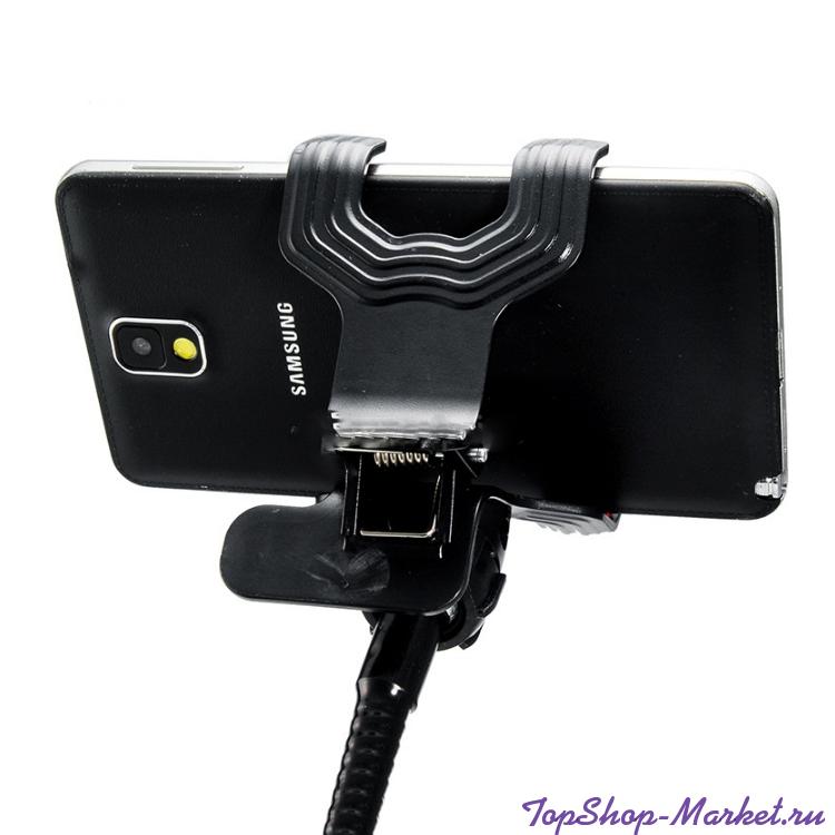 Гибкий держатель-прищепка для телефонов и мини планшетов, Цвет: Чёрный