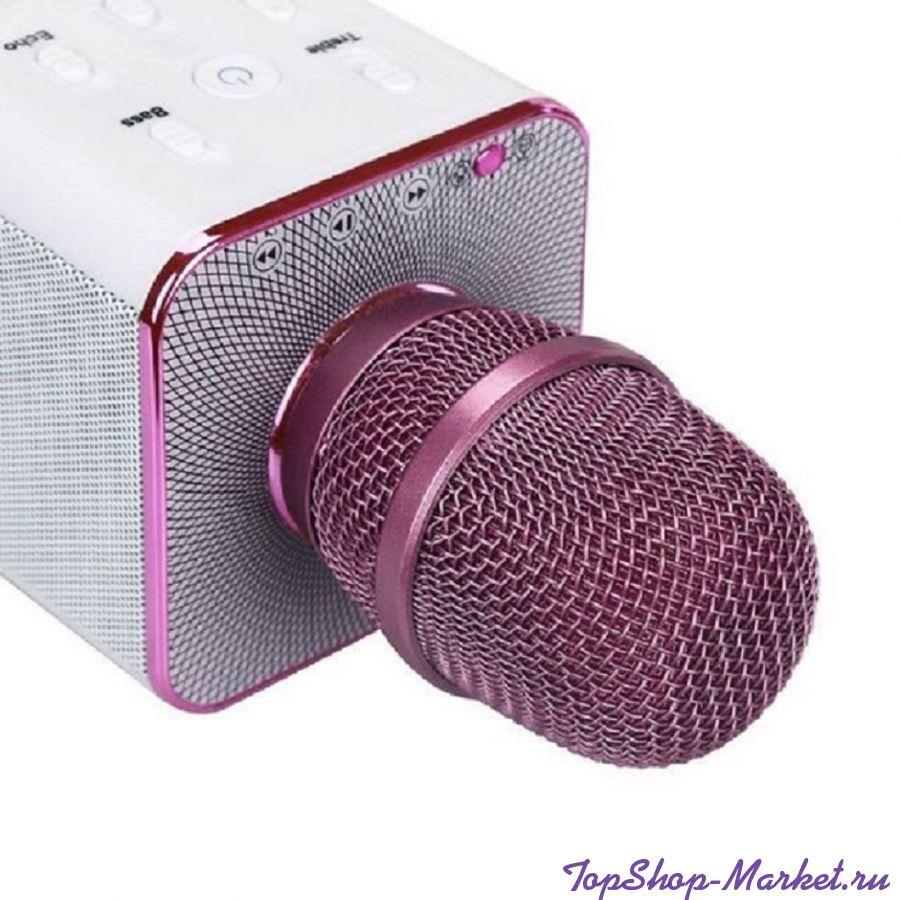 Беспроводной караоке микрофон Q7, Цвет: Розовый
