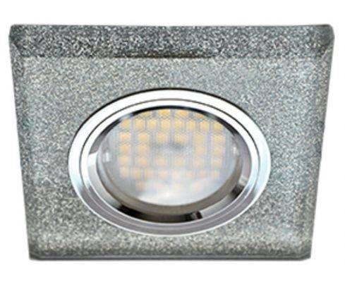 Светильник встраиваемый Ecola DL1651 MR16 GU5.3 квадратный стекло Серебряный блеск/Хром 25x90x90 FS1651EFF