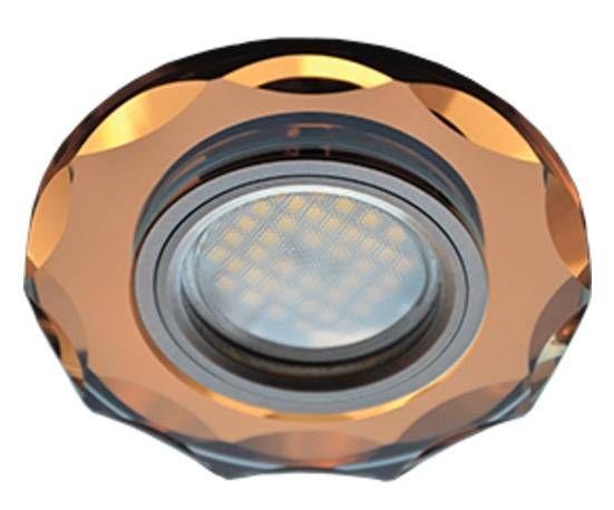Светильник встраиваемый Ecola DL1653 MR16 GU5.3 стекло с вогнутыми гранями Янтарь/Черненая медь 25x90 FA1653EFF