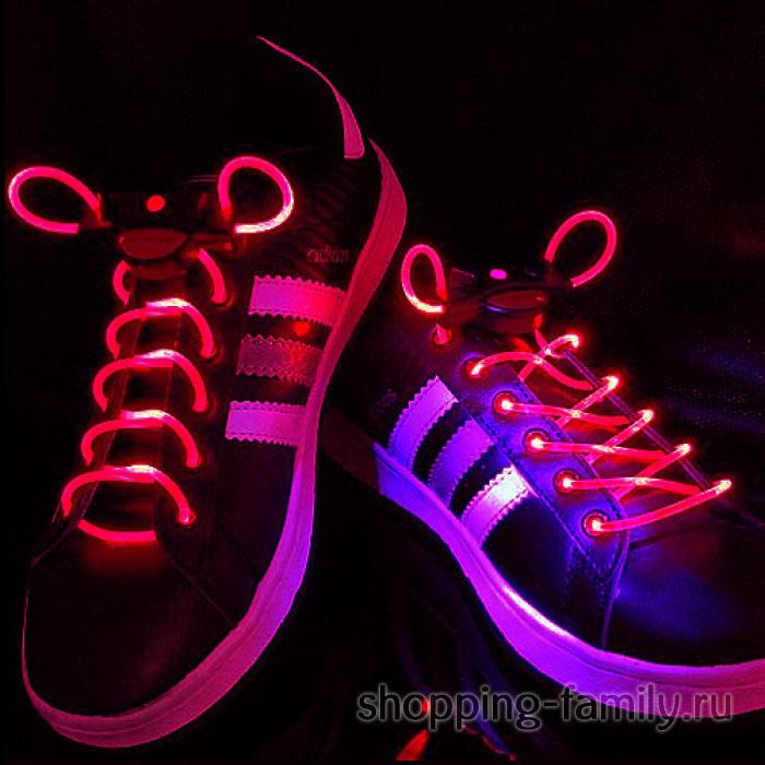 Светящиеся шнурки, цвет Красный