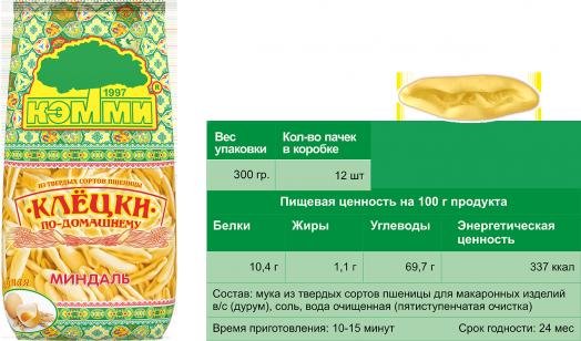 КЭММИ Клецки яичные МИНДАЛЬ 300 г