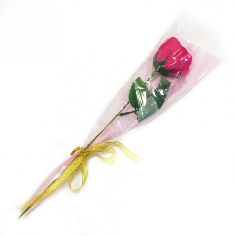 Роза из парфюмированного мыла Soap Flower, 39 см, цвет темно-розовый