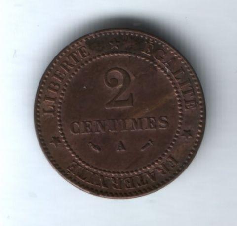 2 сантима 1882 года Франция XF
