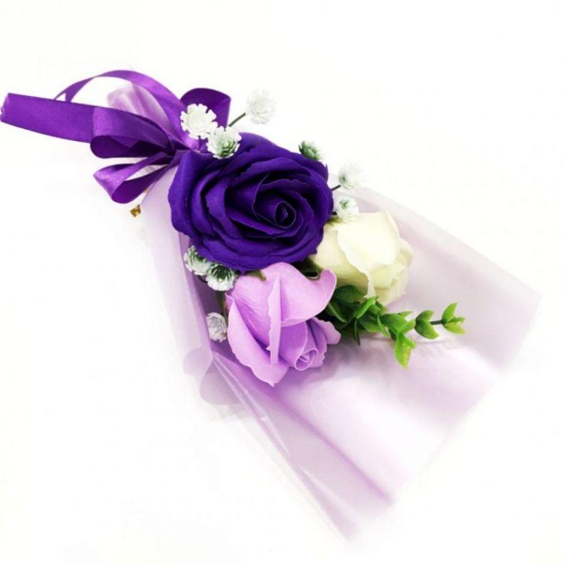 Подарочное парфюмированное мыло Букет 3 розы в упаковке, 25 см, цвет фиолетовый