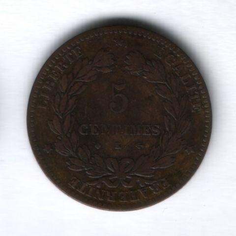 5 сантимов 1873 года К, Франция